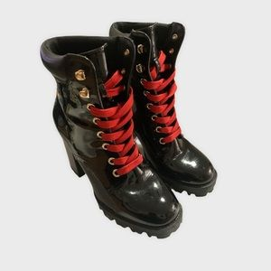 Forever 21 Black Patent Leather Combat Boots